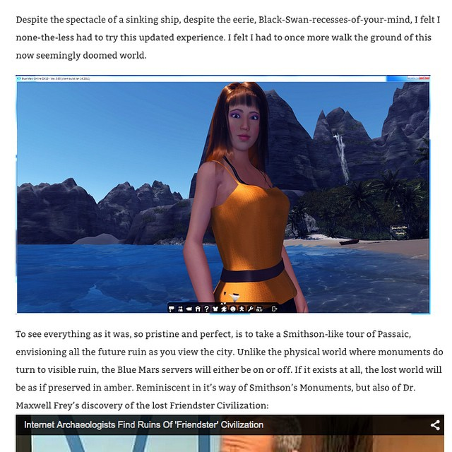 #vanessablaylockdid a smithsonesque journey back through blue mars, a massive multiplayer virtual world inspired by a vision of the future when the power to #terraformwhole worlds is in our grasp#passaics