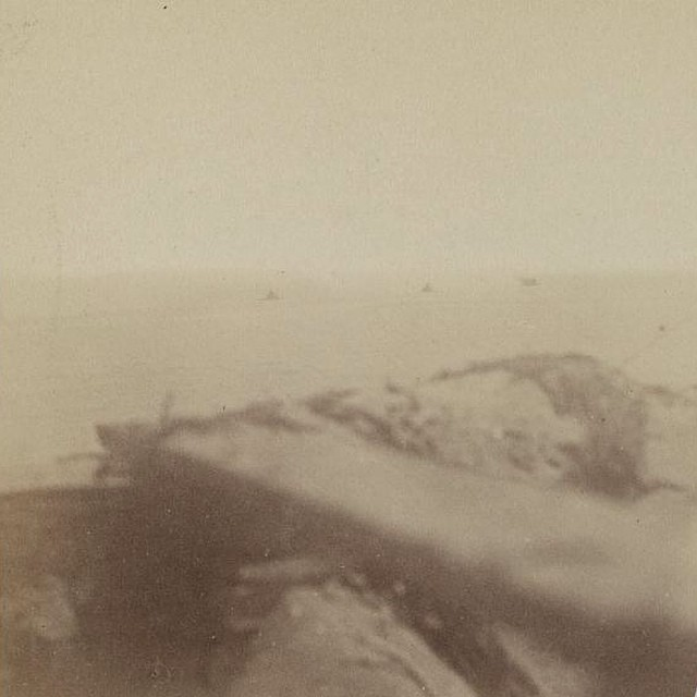 Photograph shows federal ironclads weehawken, montauk and Passaic during combat by a confederate photographer at fort sumpter on September 8th 1863. This is the first known civil war combat photo taken with the photographer actually under fire. From the library of congress.#passaics