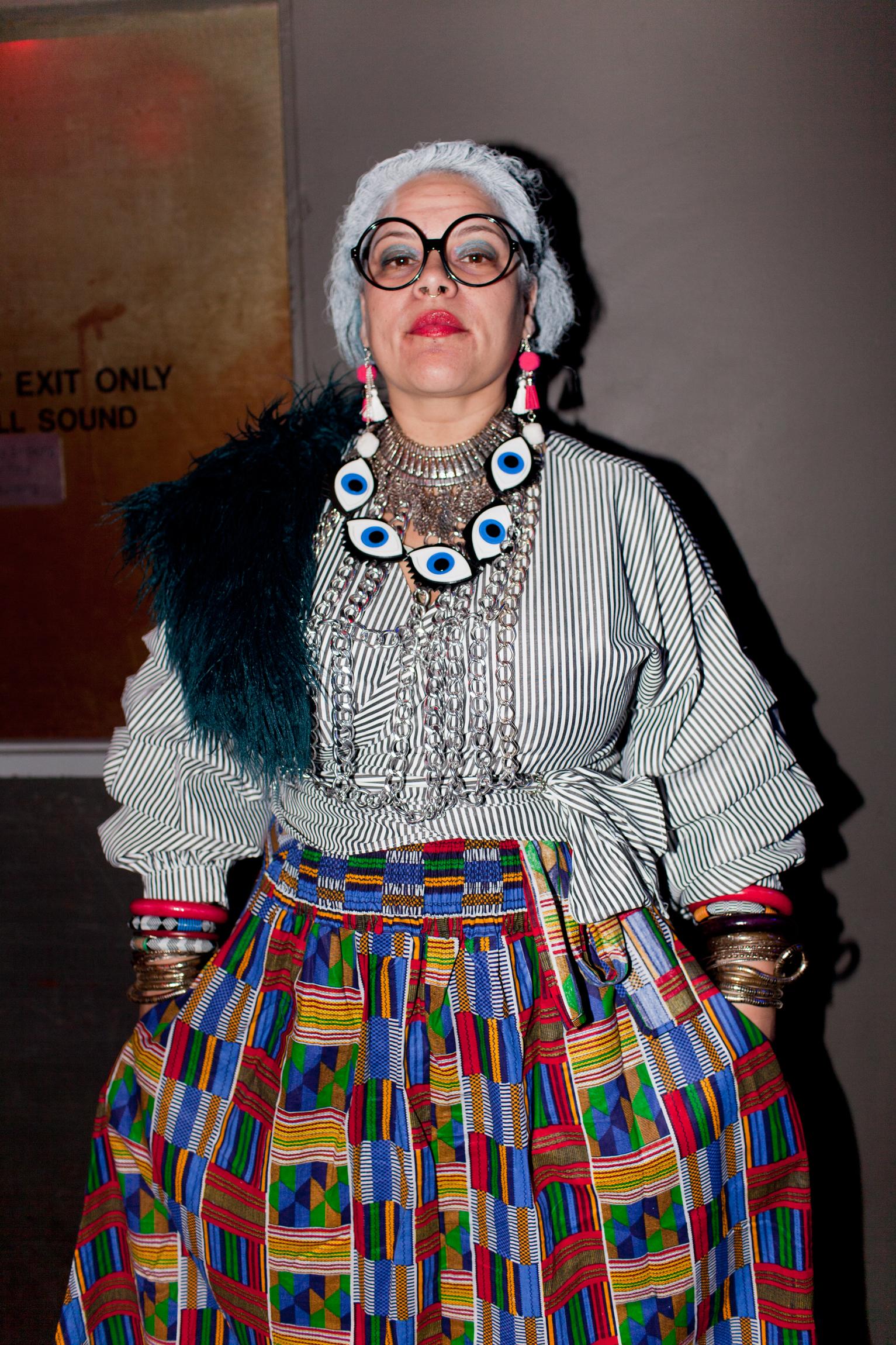 Musician Aima Paule dressed as Iris Apfel