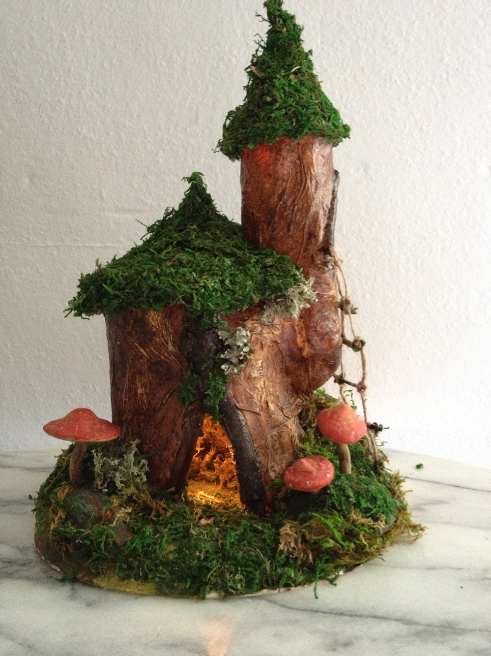 fairy gnome house DIY handmade wood and mushrooms rope ladder