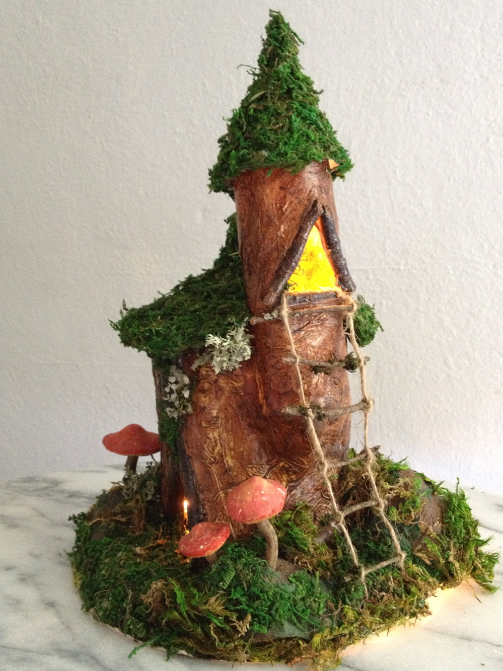 Dumbledore's tower fairy gnome house nightlight with mushrooms