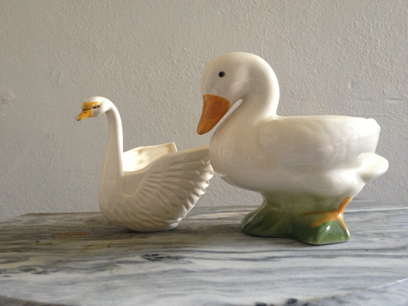 Swan and Duck: my 50 cent garage sale scores