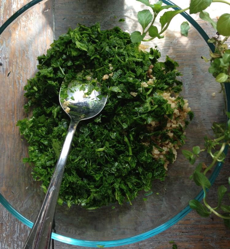 I shredded the parsley and mint in a food processor because I like tiny tiny pieces, but if you like bigger chunks (or don't have a food processer) just a quick chop will work as well.