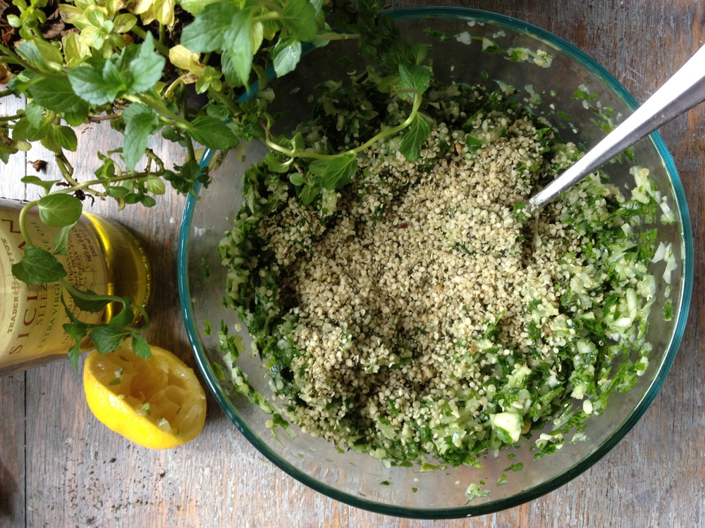Finally, sprinkle on some hemp hearts and mix together!