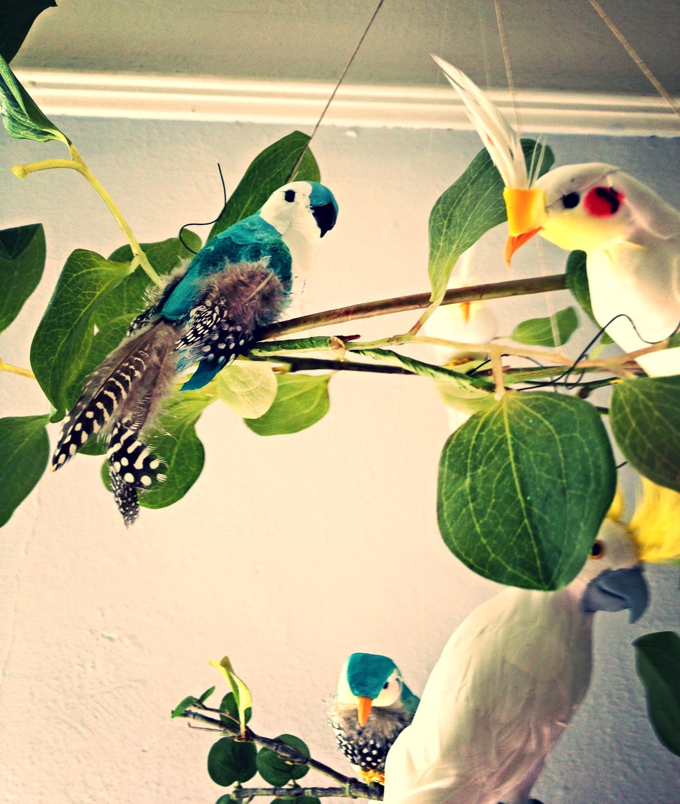 Parrots and cockatiels floating on jungle vines, handmade baby mobile by Cass & Merlune.
