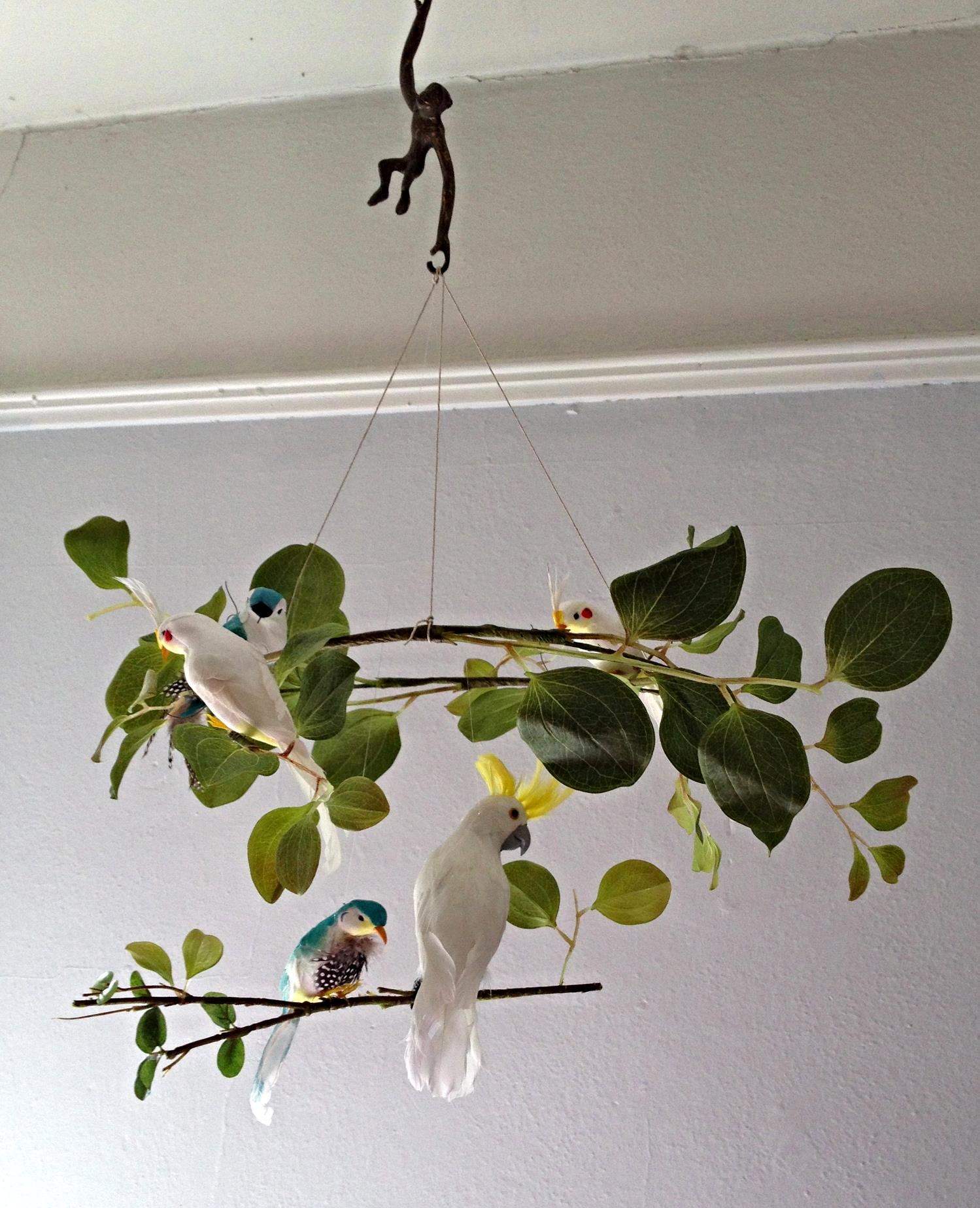 Custom made colorful baby mobile by Cass & Merlune.  Unisex, jungle and safari theme.