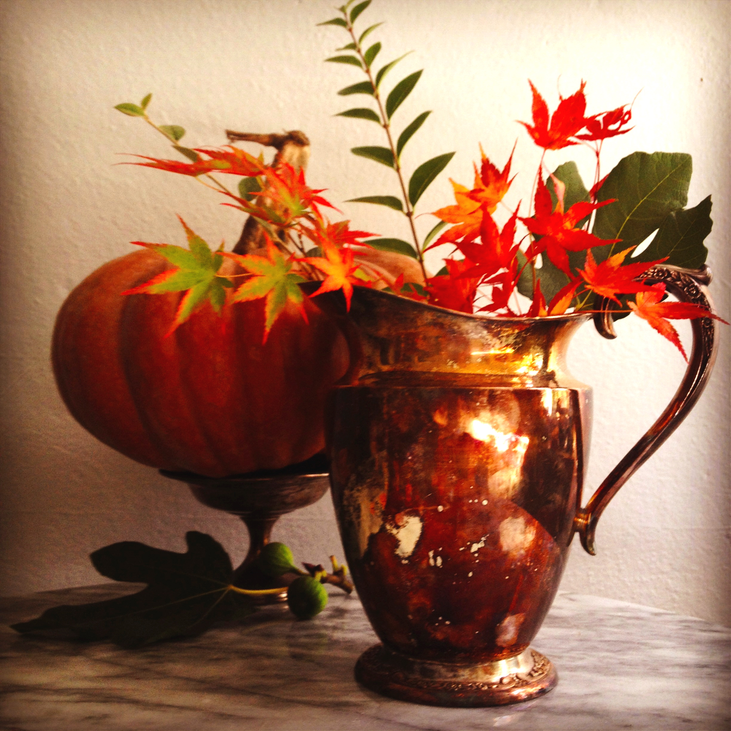 tarniched pitcher vase holiday entertaining