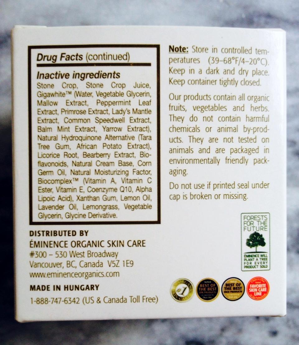 Eminence bright skin Moisturizer ingredients.JPG