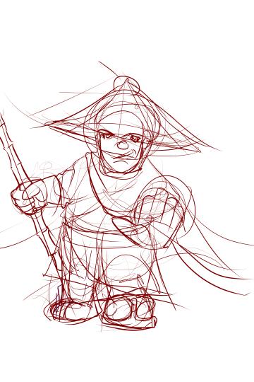 Dwarf Monk (Rough Sketch)