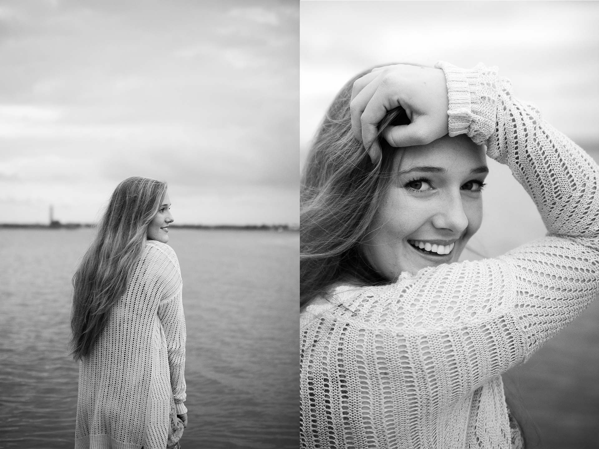beach senior portraits bw.jpg
