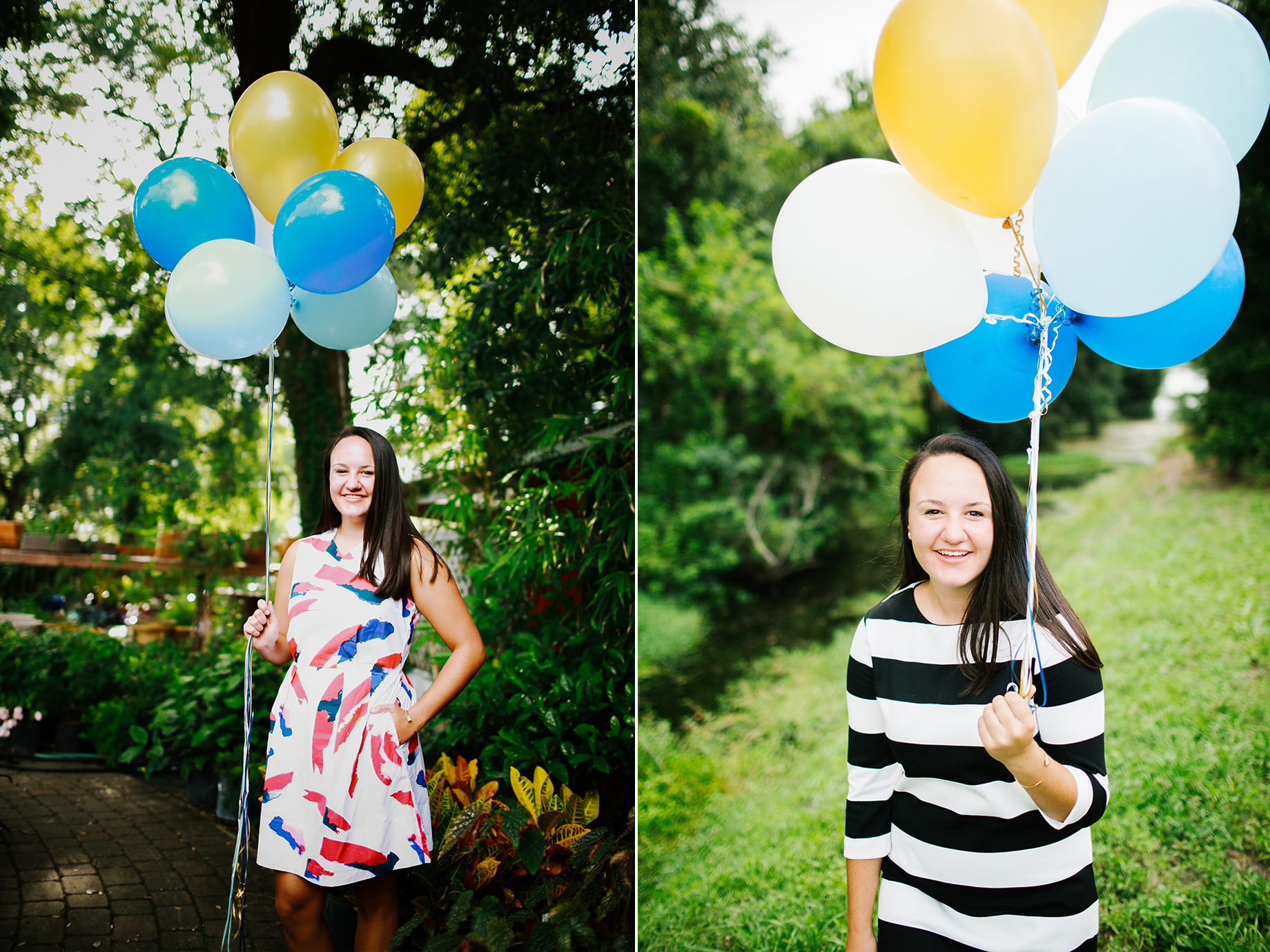 senior portraits balloons winter park florida gardens sunlight bright.jpg