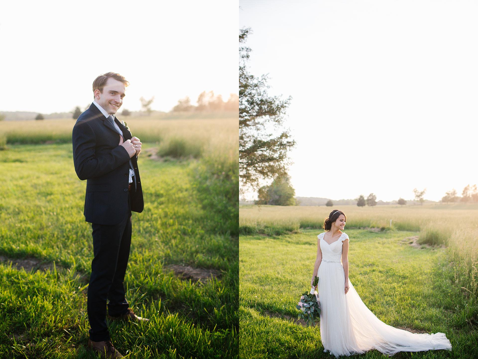 bride and groom sunset field rural wedding.jpg