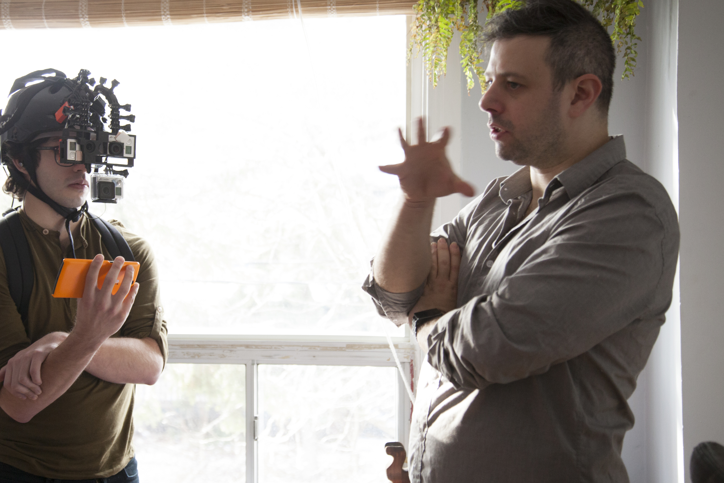 "Andrew Pimento and myself talking through a scene on set of ""I Am You"""