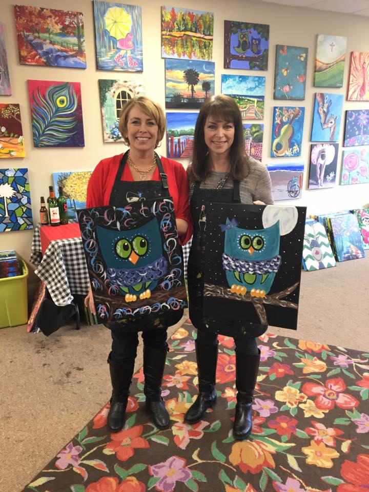 Sister's weekend....creating by painting - and creating memories!