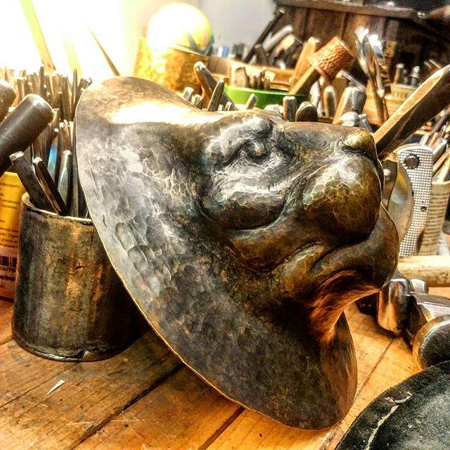 I think I need to set the eye's deeper.  #uchidashi #raising #chasing #repousse #metalwork #metal #art #sculpture #metalsculpture #handcrafted #americanmade #hammertime #handmade #California #californiaartist #steel #steelworker #lion #brass  Patreon.com/douglaspryor