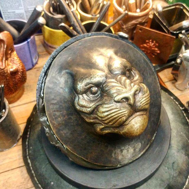 A layer at a time.  #uchidashi #raising #chasing #repousse #metalwork #metal #art #sculpture #metalsculpture #handcrafted #americanmade #hammertime #handmade #California #californiaartist #steel #steelworker #lion  Patreon.com/douglaspryor