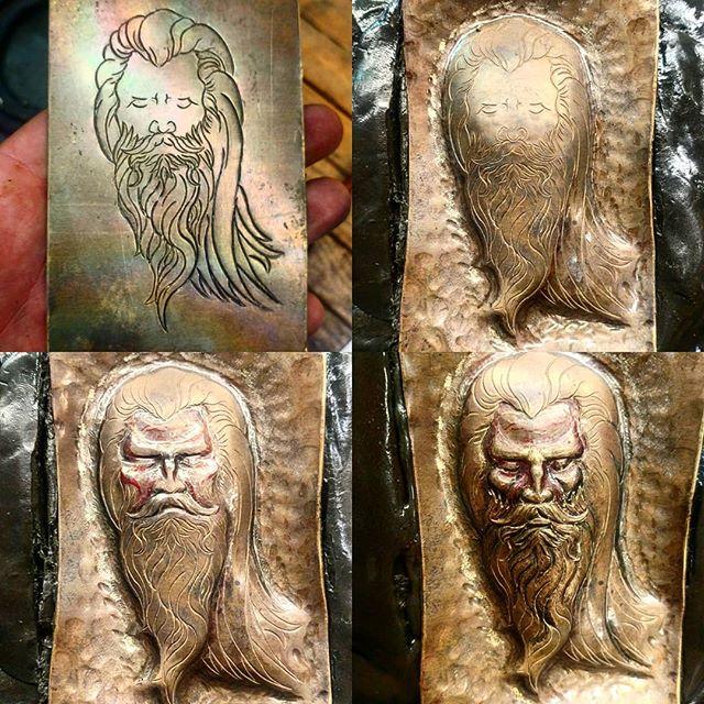 A little progress on a wizard. 😁  #uchidashi #raising #chasing #repousse #metalwork #metal #art #sculpture #metalsculpture #handcrafted #americanmade #hammertime #handmade #wizard #californiaartist #steel #steelworker #brass #beardfashion #moustache  Patreon.com/douglaspryor