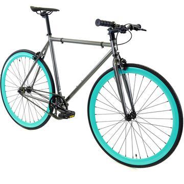 Steel Single Speed, Grey/Turquoise $299