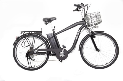 26″ City Cruiser Black/White $1299.99   Motor: 250W Brushless Motor Battery: 36V10AH Lithium Ion Battery Charging Time: 3-4hours Max Speed: 20 MPH Range: 30-40 MILES Components: Shimano  G.W.(LBS):70 N.W.(LBS):58 Weight capacity: 275 Lbs Tire:26″