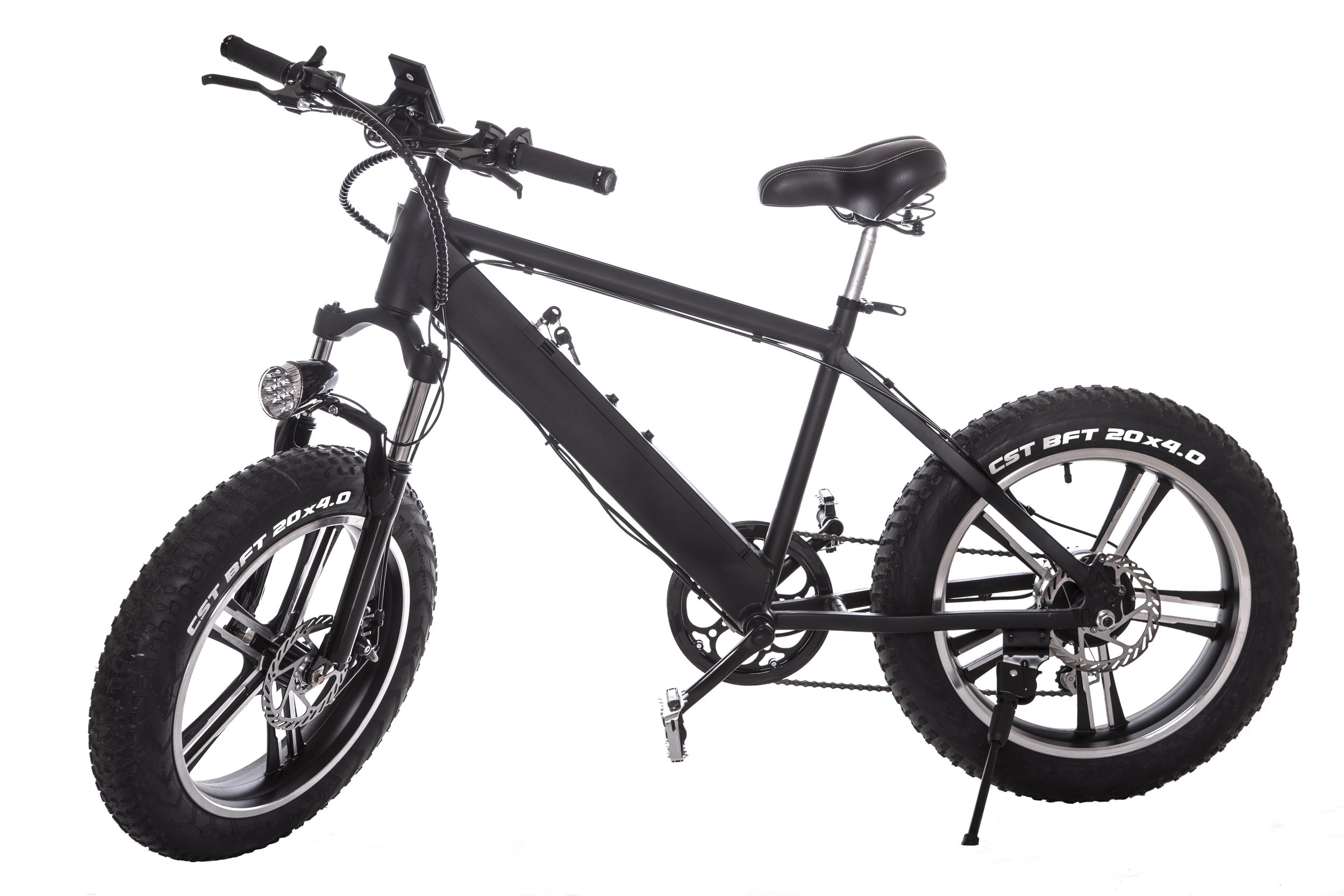 20″ Fat Tire ePower Bike Black $1299   Motor: 300W brushless motor  Battery: 36V10AH Lithium Ion Battery Charging Time: 3-4hours Max Speed: 25-28 MPH Range: 30-40 MILES  Components: Shimano  Brake: Dual Disc Brakes  G.W.(LBS):70 N.W.(LBS):60 Weight capacity: 275 Lbs Tire:20″ Fat Tire