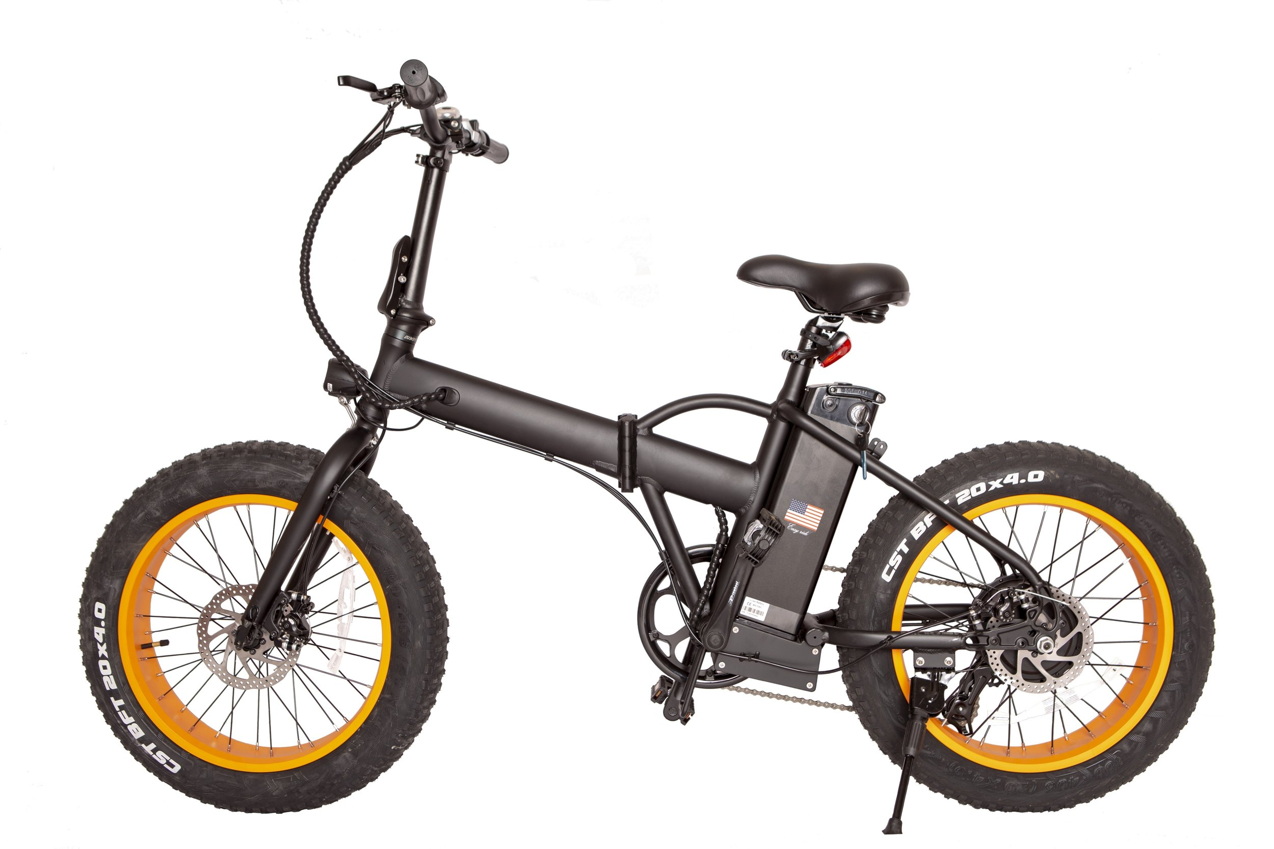 20″ Fat Tire Foldable eBike 48v Black/Gold $1599.99   Charging Time – 3-4 Hours Dual Disk Brakes Super Bright LED headlights Heavy Duty Alloy Frame and Fork Max Speed – 25-28mph Comes with Charger G.W. (LBS):72 N.W. (LBS):59 Weight Capacity: 295 LBS Tire: 26″48″ Fat Tire