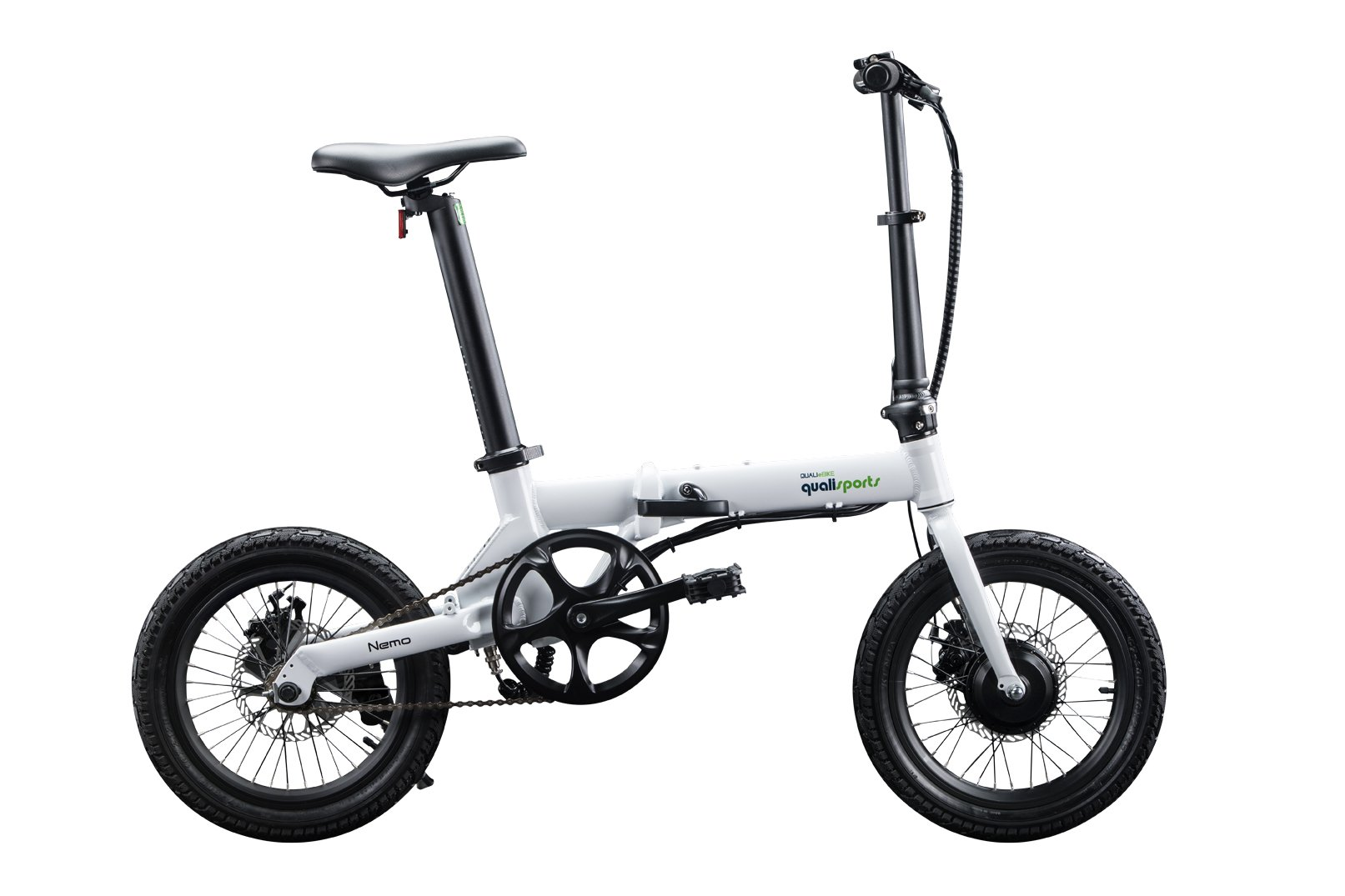"Qualisports Nemo - 16"" Folding Electric Bike Black/White $899   ""NEMO"" is a super light 16 inch folding Electric Bike, which only weighs 30lbs.  It conveniently folds down to 30.7"" x 12.2"" x 22.8"" for easy storage.  Quali-bikers can easily store them in tight out of the way places in apartments, closets, under your work desk, in an RV, a boat or even on your own plane. The NEMO features an easy to read on-board multifunctional LCD display.  You can ride the NEMO in four different modes:  As a normal bike, (PAS) Pedal assist mode, Cruise control mode, or enjoy an effortless riding experience with a simple trigger throttle mode for getting over help over the climb.  The NEMO is powered by a 250W brushless geared motor, a FOC controller interface, which gives our out E-bikes smooth acceleration and less drag making this a perfect bike for smaller commutes.  Our patented seat post battery system (Samsung 252WH) is not only stylish and sleek, it also gives the NEMO a range of 30 miles on a single charge."