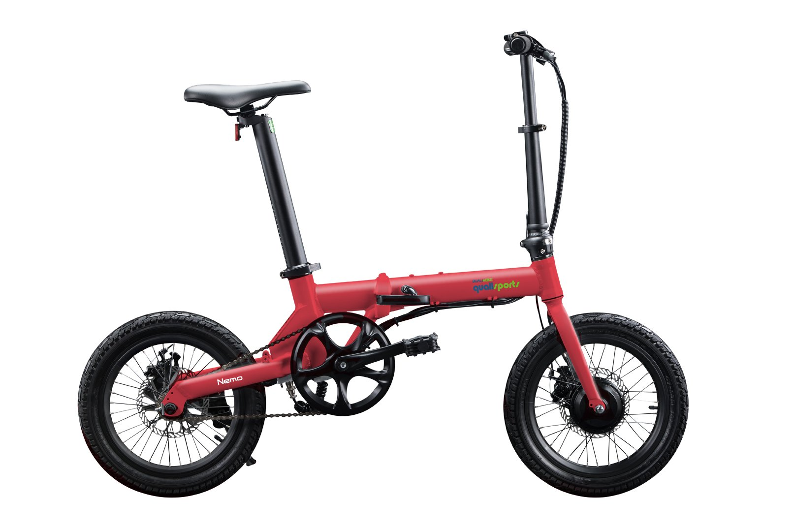 "Qualisports Nemo - 16"" Folding Electric Bike Red/Black $899   ""NEMO"" is a super light 16 inch folding Electric Bike, which only weighs 30lbs.  It conveniently folds down to 30.7"" x 12.2"" x 22.8"" for easy storage.  Quali-bikers can easily store them in tight out of the way places in apartments, closets, under your work desk, in an RV, a boat or even on your own plane. The NEMO features an easy to read on-board multifunctional LCD display.  You can ride the NEMO in four different modes:  As a normal bike, (PAS) Pedal assist mode, Cruise control mode, or enjoy an effortless riding experience with a simple trigger throttle mode for getting over help over the climb.  The NEMO is powered by a 250W brushless geared motor, a FOC controller interface, which gives our out E-bikes smooth acceleration and less drag making this a perfect bike for smaller commutes.  Our patented seat post battery system (Samsung 252WH) is not only stylish and sleek, it also gives the NEMO a range of 30 miles on a single charge."