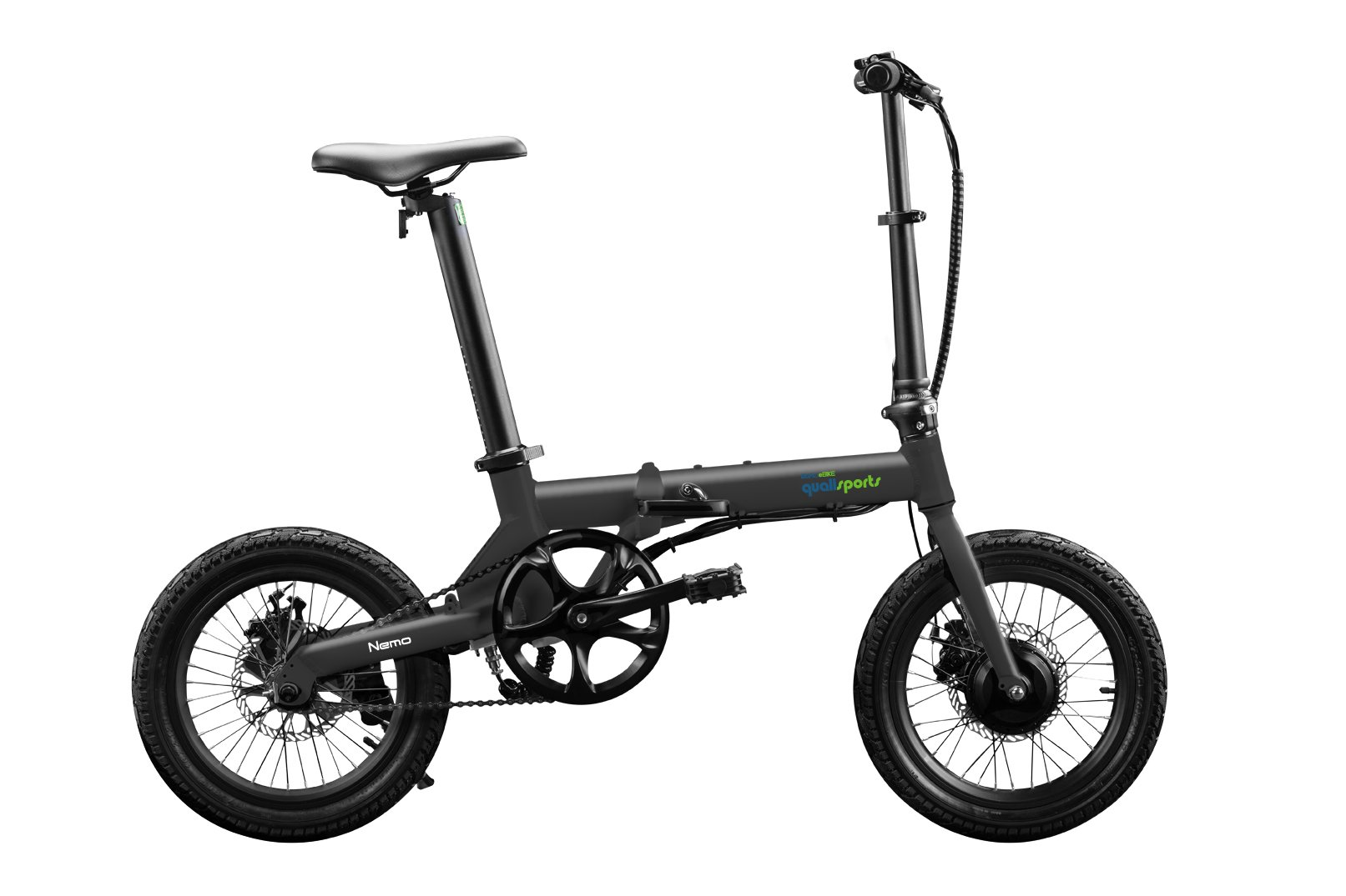 "Qualisports Nemo - 16"" Folding Electric Bike Black $899   ""NEMO"" is a super light 16 inch folding Electric Bike, which only weighs 30lbs.  It conveniently folds down to 30.7"" x 12.2"" x 22.8"" for easy storage.  Quali-bikers can easily store them in tight out of the way places in apartments, closets, under your work desk, in an RV, a boat or even on your own plane. The NEMO features an easy to read on-board multifunctional LCD display.  You can ride the NEMO in four different modes:  As a normal bike, (PAS) Pedal assist mode, Cruise control mode, or enjoy an effortless riding experience with a simple trigger throttle mode for getting over help over the climb.  The NEMO is powered by a 250W brushless geared motor, a FOC controller interface, which gives our out E-bikes smooth acceleration and less drag making this a perfect bike for smaller commutes.  Our patented seat post battery system (Samsung 252WH) is not only stylish and sleek, it also gives the NEMO a range of 30 miles on a single charge."