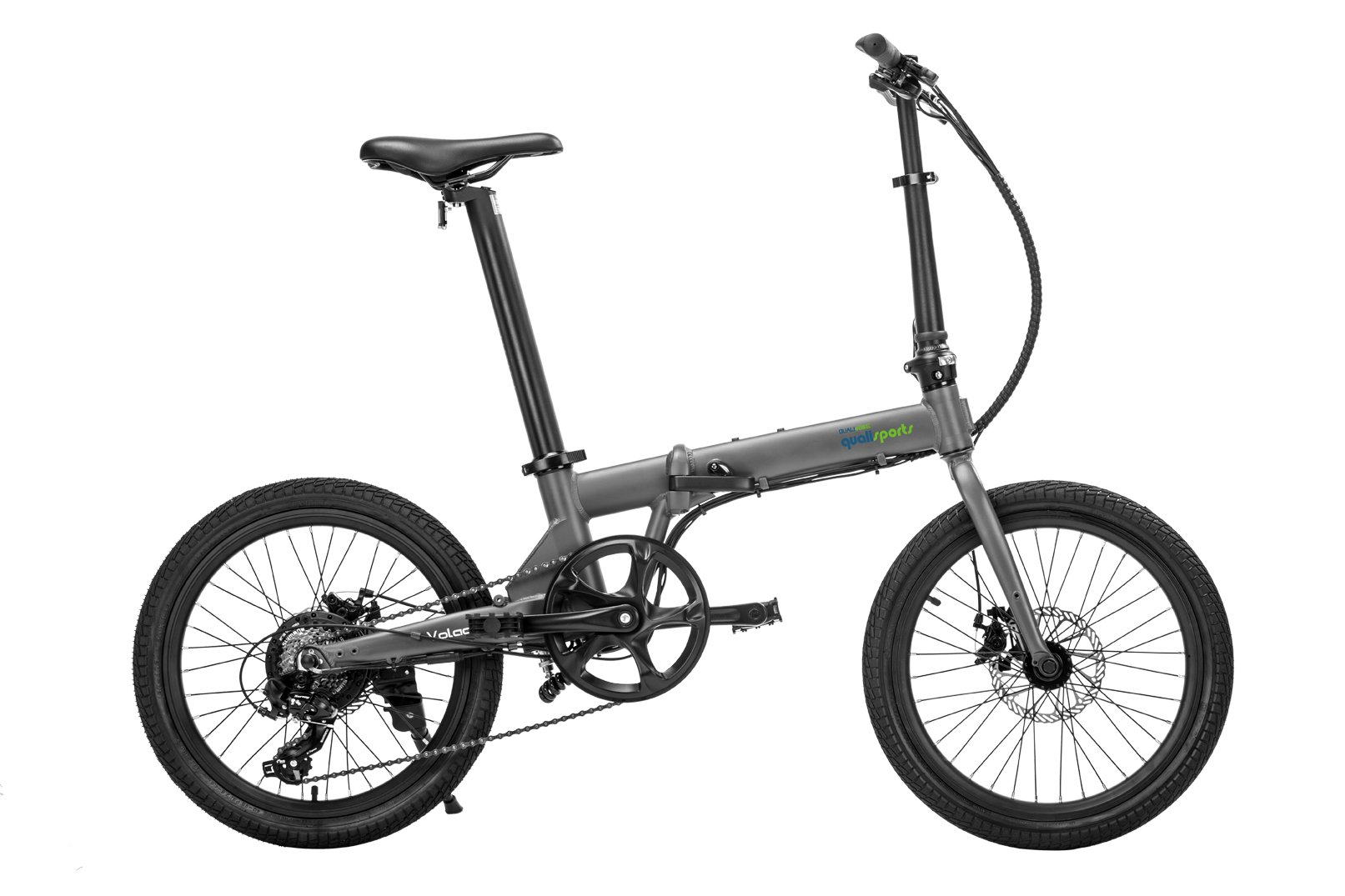 "Qualisports Volador-20""TIRE Folding Electric Bike Grey $1099   Qualisports crafted the ""Volador"" after years of feedback from our NEMO customers.  The Volador is our 20"" Electric-bike, which weights only 38.5lbs. It effortlessly folds down to 32.68"" x 15.75″ x 26.38″ compact size. It features 20 x 1.95"" tire, and a Shimano 7-speed mechanical gear shifting in addition to an electronic 5 level shifting capability.  As with our ""Nemo"" Bikes, Quali-bikers can easily store the Volador in tight out of the way places in apartments, closets, under your work desk, in an RV, a boat or even on your own plane. The Volador features an easy to read on-board multifunctional LCD display. It will comfortably accommodate a cyclist from 5′ to 6'3″ tall.  The Volador can be ridden in four different modes:  As a normal bike, (PAS) Pedal Assist mode, Cruise control mode, or enjoy an effortless riding experience with a simple press of a trigger throttle to help you get over a hill.  The Volador has an efficient and strong 350W brushless geared motor which will assist you to overcome an 18-degree climb effortlessly. Our patented stylish and stealthy seat post design is practical and hides our batteries (Samsung 252WH). The Volador will give the Quali-biker's 30miles range on a single charge."