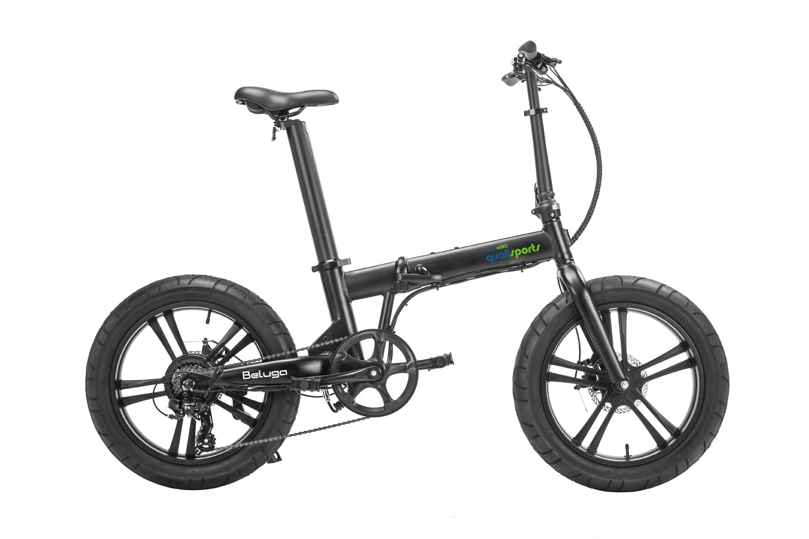 "Qualisports Beluga - 20"" Fat Tire Folding Black Ebike $1349   The BELUGA is our 20"" Fat Tire E-Bike that is getting lots of attention and popularity around the world. It turns heads, it looks trendy and it is FUN to ride.  Our patented, intergraded seat post design is not only stylish and stealthy but it is a practical system by design (Samsung 504WH) offers a game-changing 60 miles range on a single charge.  Beluga's design will make you stand out from other Fat Tire manufactures.  It features 20"" x 4.15"" tires, which rolls over all types of terrain conditions from pavement, sand, hardpack trail, and even snow.  It is equipped with the 350W brushless geared motor and Shimano 7-  speed mechanical gear system and a 5 level electronic shifting that will give you all you need to explore the city with confidence.  The Beluga will accommodate Cyclists ranging in height from 5′to 6'3″ weighing up to 300 lbs. It has 4 riding modes: Normal bike mode, (PAS) Pedal assist mode, Cruise control mode and throttle mode."