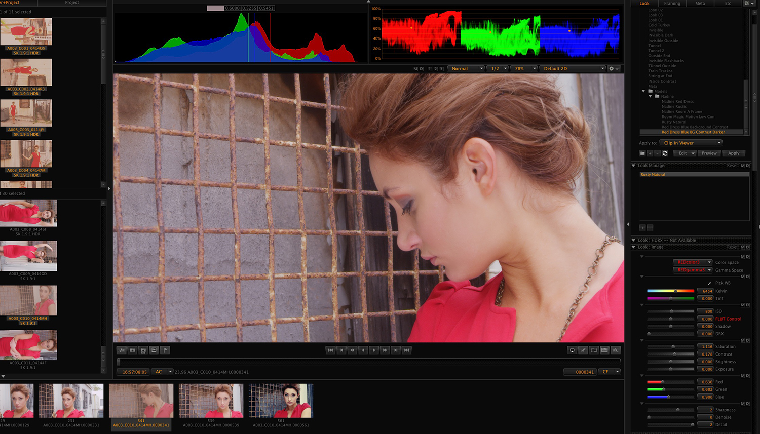 Red Cine interface for motion to stills photography.