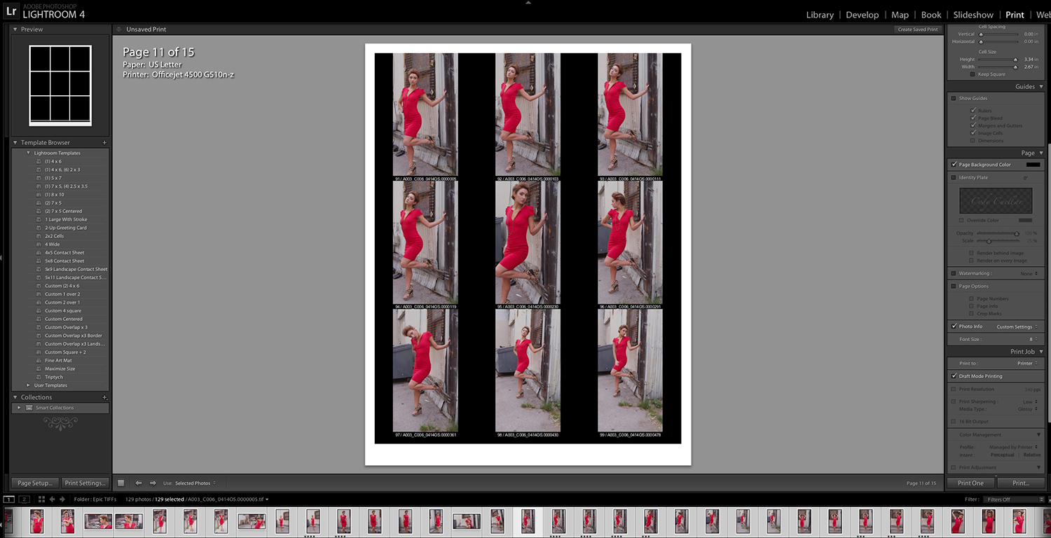 Adobe Lightroom Contact Sheet