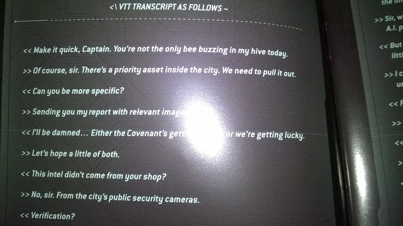 An example of the dialog they were proud to include in the manual. (Bungie's ODST).