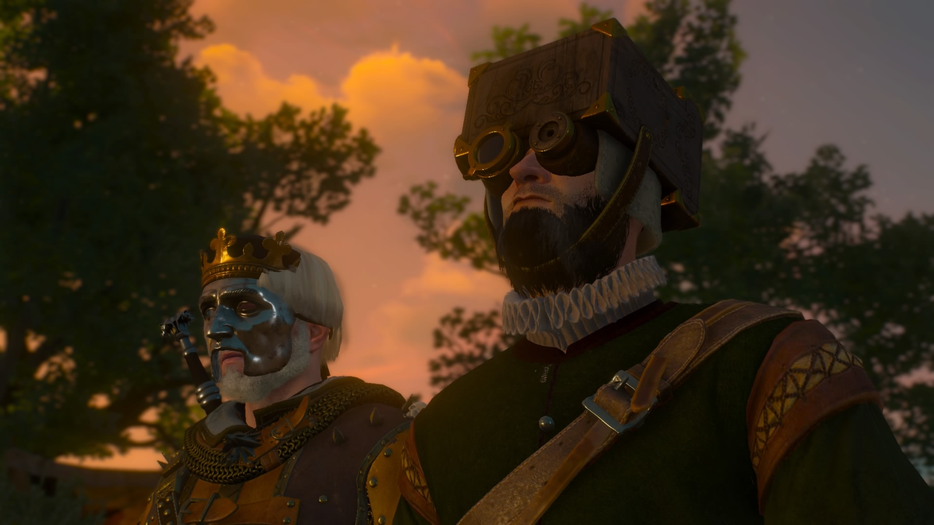 In the Duchy of Toussaint, Geralt in his Pierrot-like armour blends into the crowd. Dyes may be used to accentuate the clown-like, and sometimes corpulent, quality of all witcher gear.