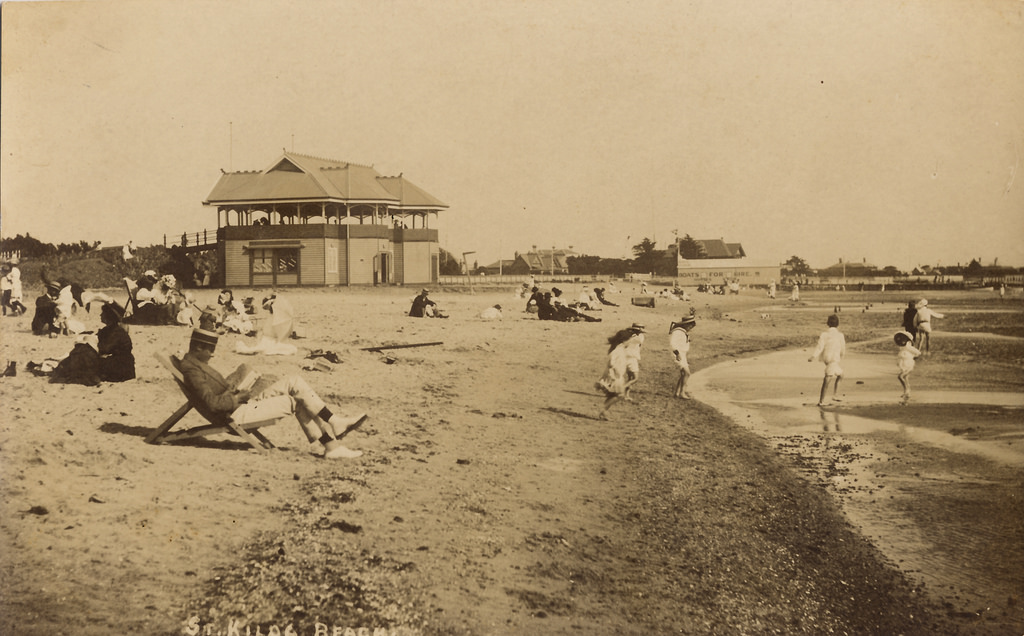 St. Kilda beach at the height of Australia's infamous  Sepia Australia   policy .