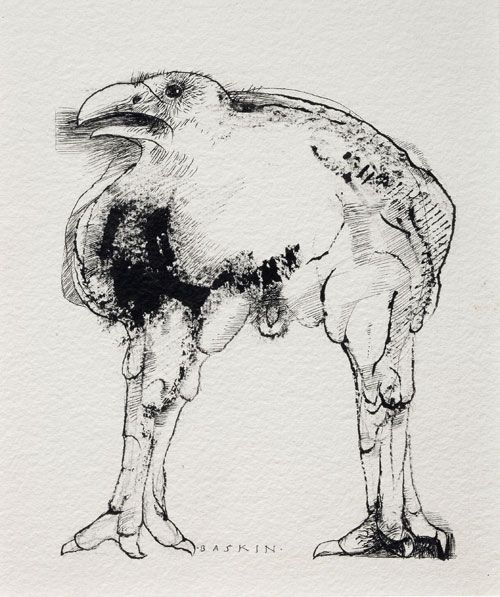 A not entirely unrelated  crow,  displaying its classical  cock and balls and sculpted calves and thighs .