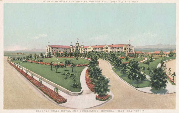 """This postcard from the 1920s reads: """"Midway between Los Angeles and the sea. Open all year. Beverly Hills Hotel and Bungalows. Beverly Hills, California."""""""