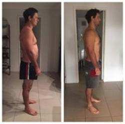 Neil with improvements in posture, chest development/fat reduction and belly fat all within 28 days!
