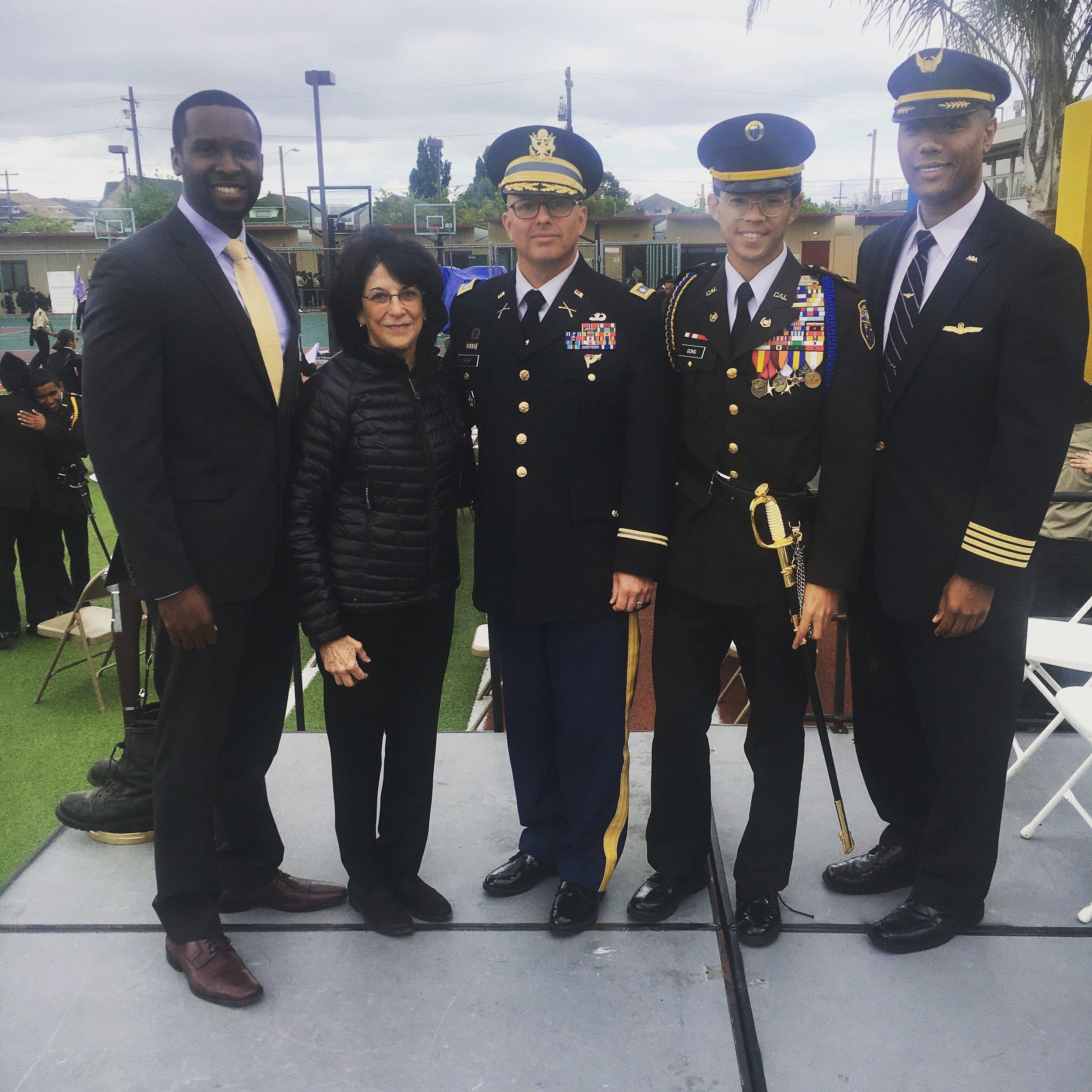 Jerry Varnado '07, Nina Leslie, LTC Ken Coop (OMI Commandant), Cadet Gong, Guest Speaker