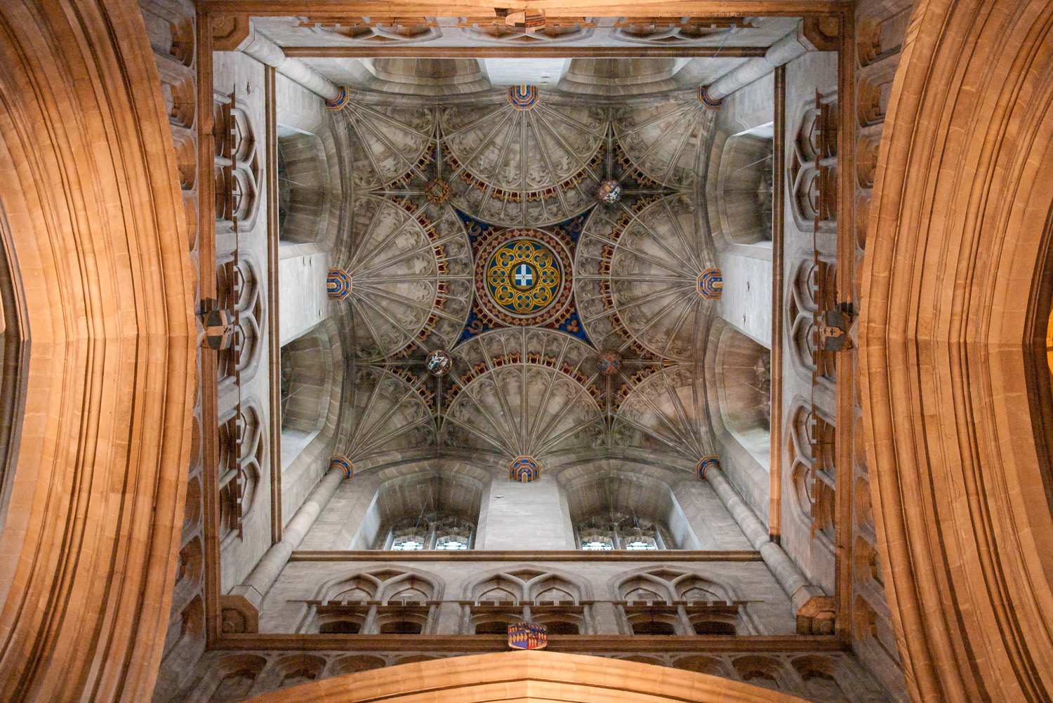 The massive vault of Canterbury Cathedral not only implies grandeur and loftiness, but also the tremendous potential of the community of the Church in working together (the delicate tendrils of the fan arches working together hold up the massive roof).