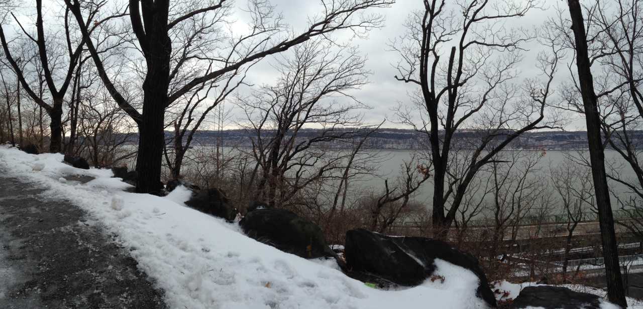 The walk up to the Cloisters, looking over the Hudson River.