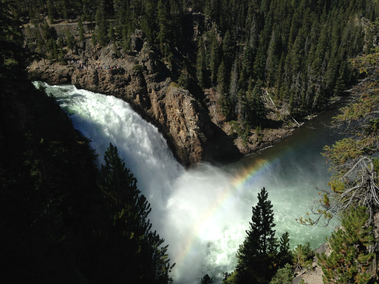 Upper Falls and its rainbow. I was hiking right along the edge of the canyon.