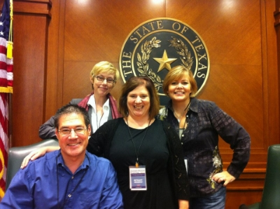 "That's me in the back with Greg Leitich, Bethany Hegedus, and Lisa McMann after ""The World Turned Upside Down"" panel at the Texas Book Festival."