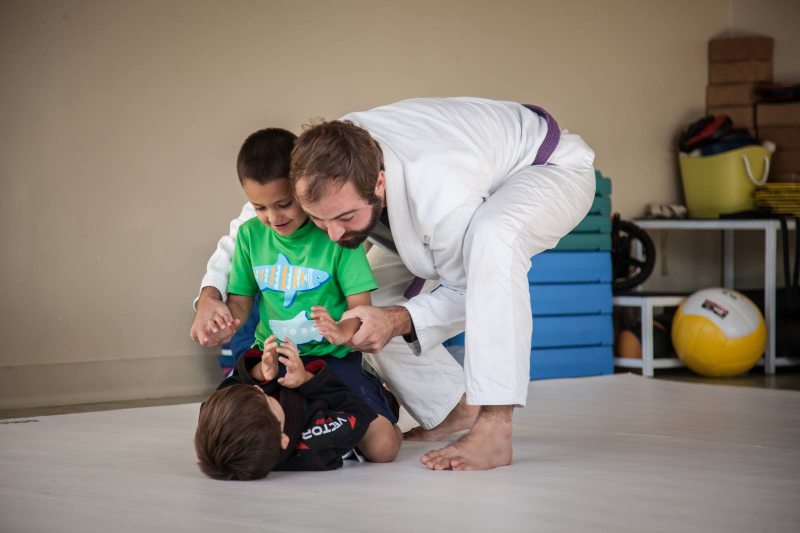 Parker and I showing a new student how to use the mount position