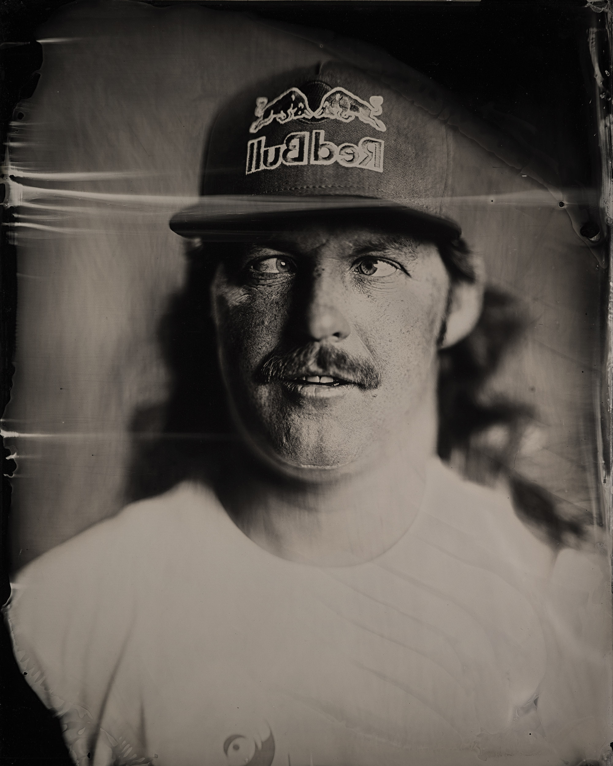 """Pro cyclist and man who takes his portraits very seriously, Mike """"Hucker"""" Clark."""
