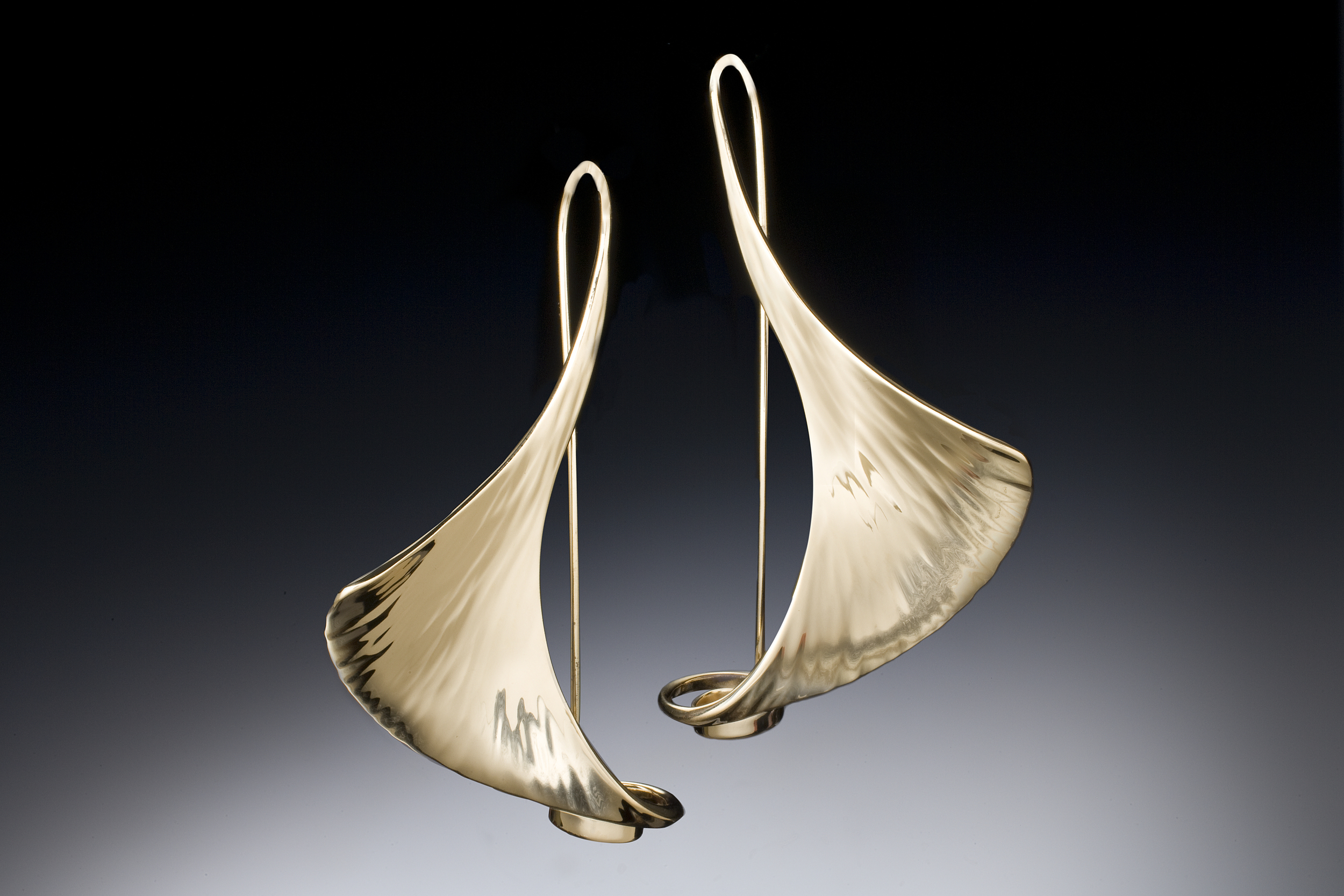 Large GingkoEarrings With Catch