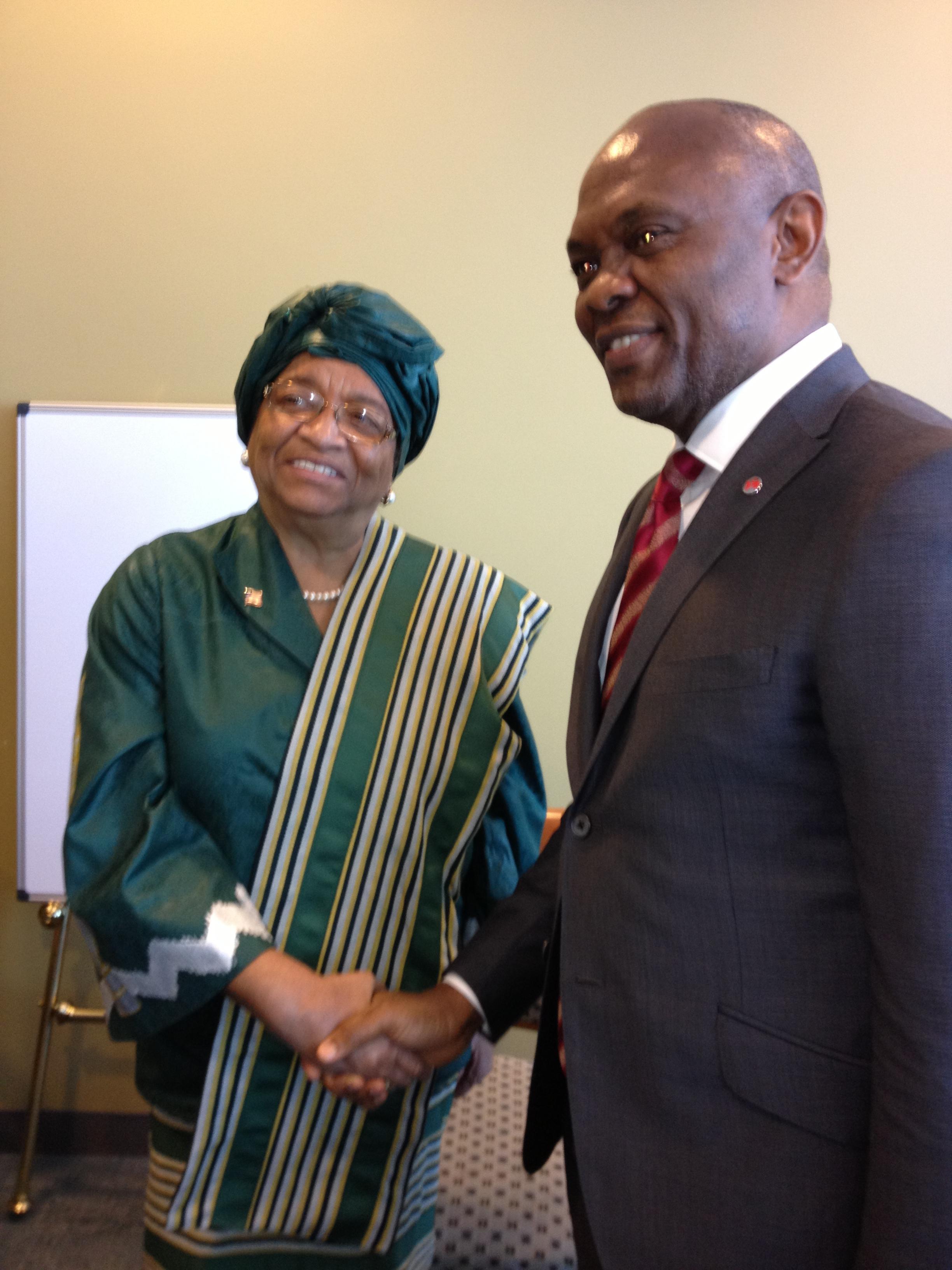 "President Ellen Johnson Sirleaf & Tony Elumelu from The Tony Elumelu Foundation and HEIRS Holdings ""This is not your grandmother's philanthropy."" - Jennah Scott"