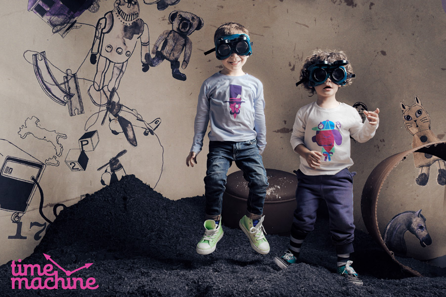 Backdrop for photo shoot by Time Machine, a children's fashion label in the US.