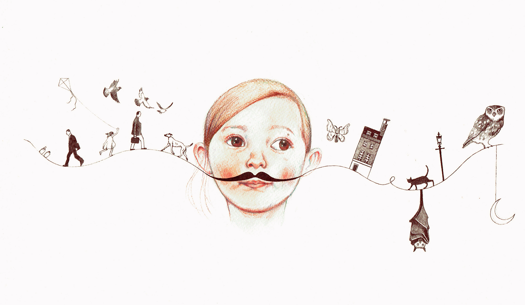 Drawing of Molly for the book Molly's Marvellous Moustache, by Andrea Heaton