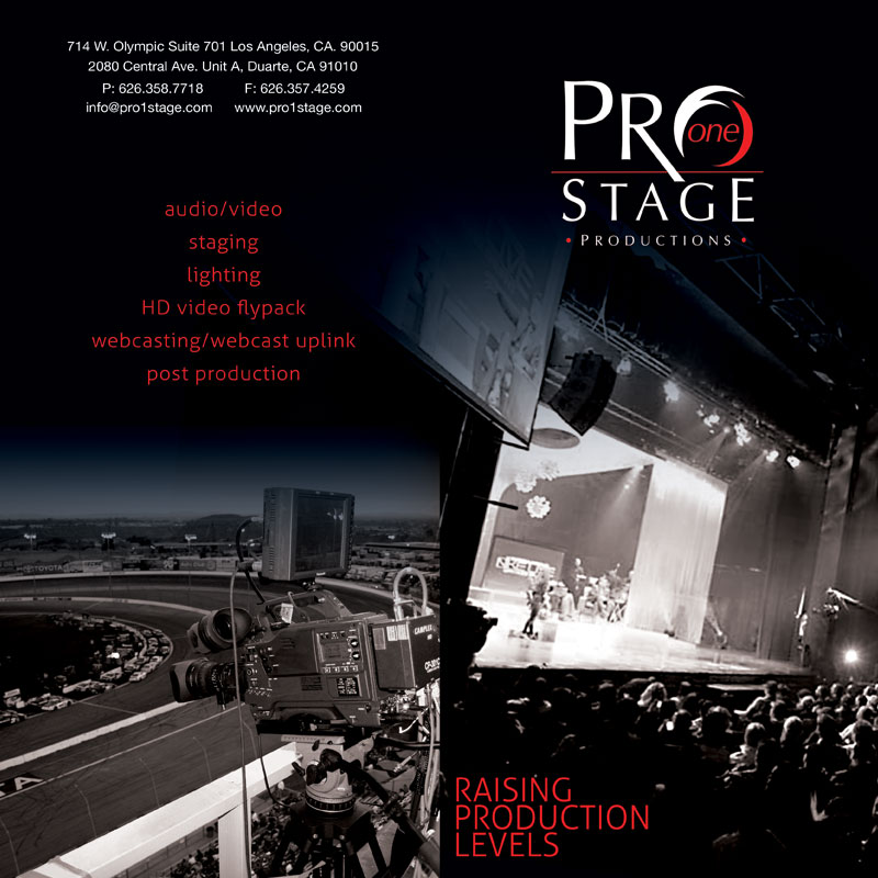 PRO ONE STAGE PRODUCTIONS - Brochure for a live events production company